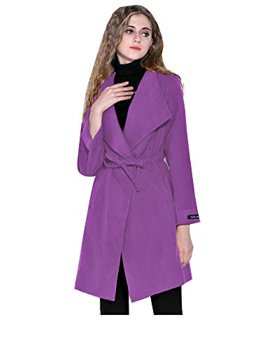 Cálido Polo Famale Manga Cordones Largo Cinturón Cuello Gabardina Otoño Grueso Lady Lana Purple Larga Mujeres Sólido Casual Slim Outwear Color Con ET4Wq