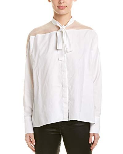 Valentino Womens Sheer Panel Silk-Trim Top, 40, White