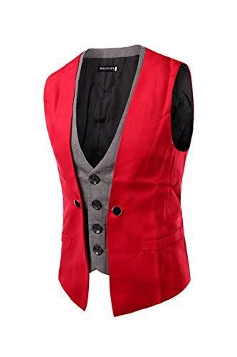 Ajustée Suit Rouge Zilcremo Vest Pieces Travail Robe Two De qBf10xd1Zn