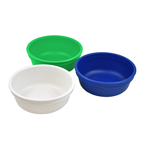 Re-Play Made in the USA 3pk Bowls for Easy Baby, Toddler, and Child Feeding - White, Kelly Green, Navy Blue (Nautical)