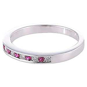 Marhaba 18kt Solid White Gold Diamond Ruby Ring [K1118697-5.5]