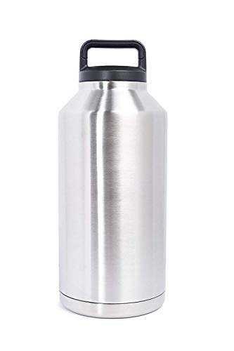 Mikash ArtMuseKits [Upgraded] Beer Growler 64 oz - Thermos Water Bottle - Insulated Stainless Steel Vacuum Water Jug Dark Blue for HOT and Cold Beverages - Black Neoprene Growler Carrier