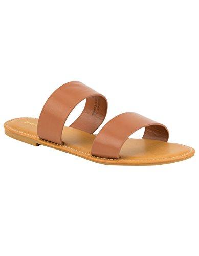 BAMBOO Double Strap Tan Sandals, Tan, 7