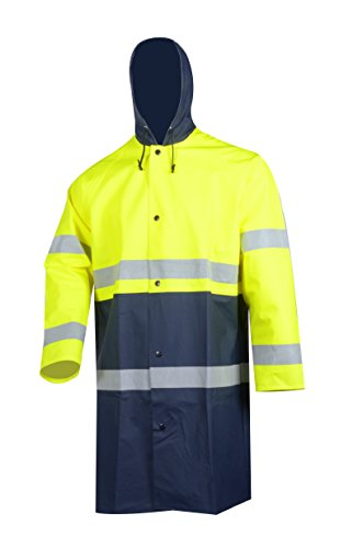 VECTOR 84% PVC 16% PU Safety Reflective High Viz Visibility Security Waterproof Men's Work Wear Rain Jacket Protective Work Jacket with Nylon Backing without Lining 2
