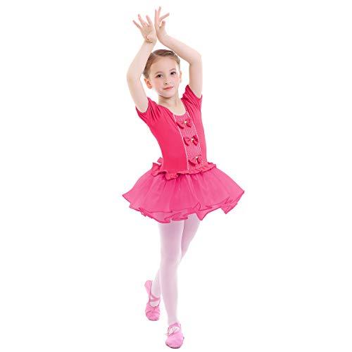 OBEEII Meisjes Ballet Strakke Turnpakje Strik Tule Gesplitste Tutu Rok Gymnastiek Dansjurk Peuter Kids Ballerina Fancy…