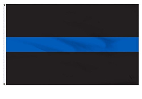(Thin Black Flag with Blue Line 3ftx5ft Polyester with Brass Grommets)