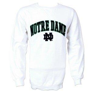 Elite Fan Shop Notre Dame Fighting Irish Fleece Crew Sweatshirt White - XL
