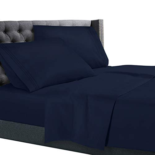 Cal King Size Bed Sheets Set Navy Blue, Bedding Sheets Set on Amazon, 4-Piece Bed Set, Deep Pockets Fitted Sheet, 100% Luxury Soft Microfiber, Hypoallergenic, Cool & Breathable