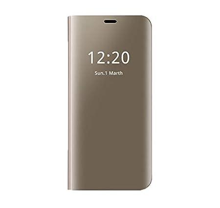 A3 2017, Violet Coque pour Samsung Galaxy A3//A5//A7 2017 Coque Clear View Case Cuir Etui Flip Clair Transparente Anti-Empreintes Housse Plating Mirror T/él/éphone Portable Couverture Standing