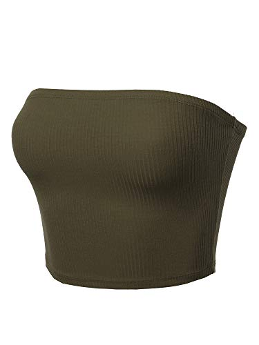 - Made by Emma Solid Bra Ribbed Tube Top Olive L