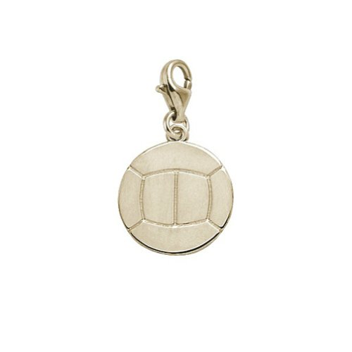 14K Yellow Gold Volleyball Charm With Lobster Claw Clasp, Charms for Bracelets and Necklaces 14k Yellow Gold Volleyball Charm