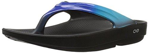 OOFOS Women's Oolala Thong Flip-Flop, Black/Blue Jay, 7 M US