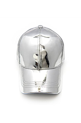 Womens Unique Metallic Plain Simple Fashion Cap LH3296 (Silver) Baseball Metallic Hat