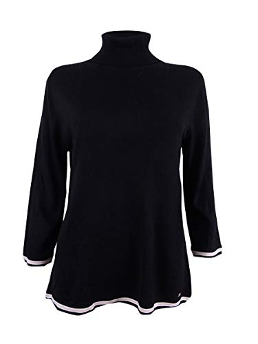 - Tommy Hilfiger Women's Striped-Trim Colorblocked Turtleneck Sweater (Small, Black)