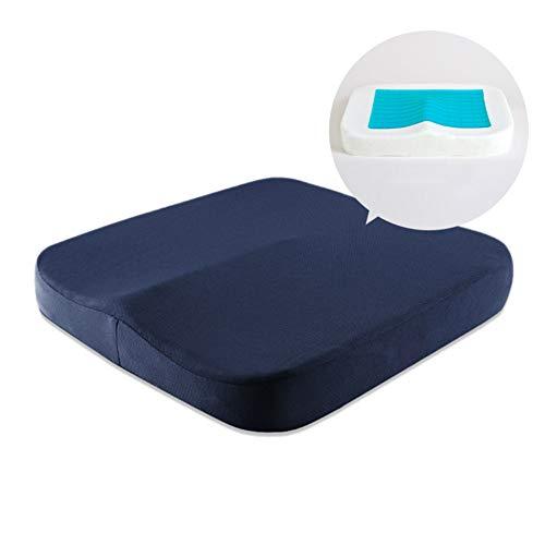 Wayward Memory Foam Cushion,Seat Cushions Orthopedic,Gel Seat Cushion,Office U-Shaped Relieve Stress Caudal Care Back Pain Cushion Chair Pad-Blue 40x40x6cm(16x16x2)