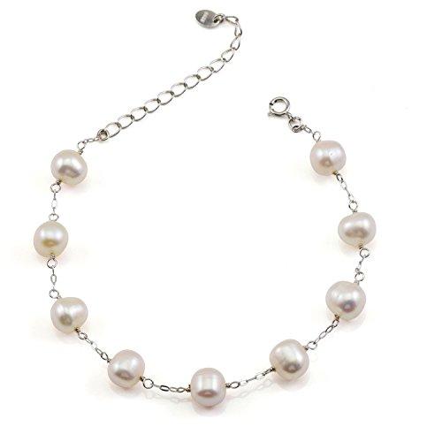 Pearl Bracelet Shape Freshwater (JFUME Women Bracelet Freshwater Cultured Pearl Bridal Jewelry Bridesmaids Gift 7.5