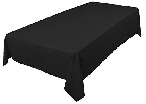 Amcrate Rectangular Plastic Black Reusable Table Cover - Ideal for Weddings, Party's, Birthdays, Dinners, Lunch's, Or for Any Tableware Use, (54