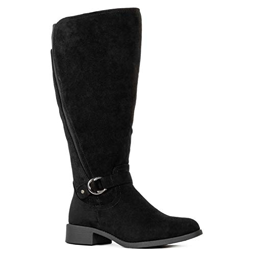 RF ROOM OF FASHION Wide Calf Stretchy Knee High Tall Riding Boots Black (8.5)