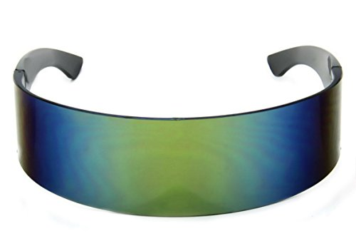 WebDeals - Futuristic Wrap Around Monoblock Cyclops Shield Sunglasses (Yellow - Women For Funky Glasses