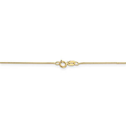 Box Necklace 10k Gold Venetian (0.5 mm 10k Yellow Gold Classic Box Chain Necklace - 18 Inch)