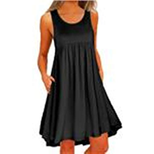 O Neck Casual Loose Mini Party Dress Women Lace Sleeveless Above Knee Dress Black]()