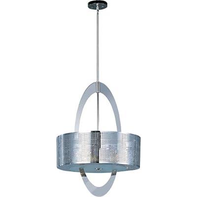 Maxim Lighting 22304PN Five Light Drum Shade Pendant, Polished Nickel
