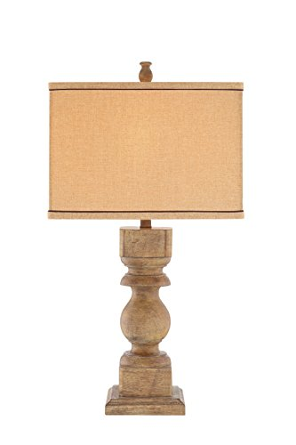 Spiral Resin Table Lamp - Catalina 19091-000 3-Way Distressed Faux Wood Table Lamp with Rectangular Linen Hardback Shade, 30