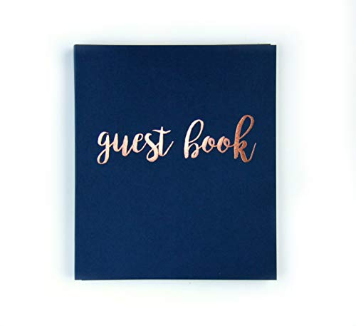 Photo Guest Book Wedding Guest Book, Modern Navy Cardstock Softcover, Flat-Lay Spiral 130 Navy pgs. Embossed Rose Gold Foil. Birthday Guest Book Instax Photo Guest Book. Navy and Blush Decor (Navy)