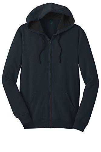 District Threads Young Mens Concert Fleece Full-Zip Hoodie, L, New Navy (Fleece Thread)