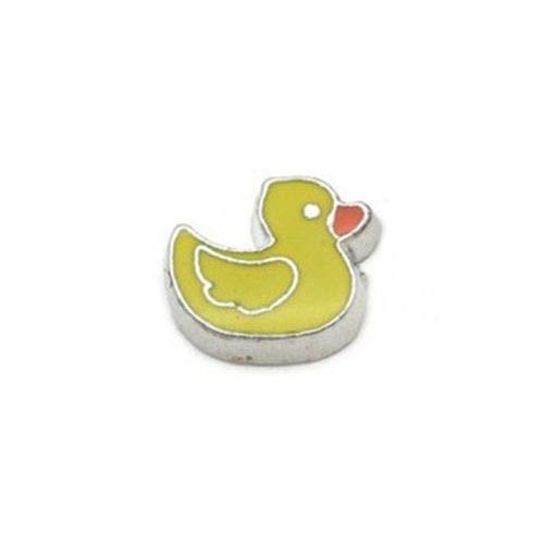 (Yellow Rubber Duckie Enamel Duck Silver 8mm Floating Charm for Memory Locket 1pc)