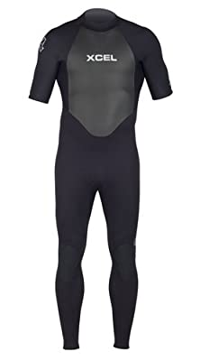 Xcel 2mm Axis OS Short Sleeve Fullsuit Wetsuit, All Black with Silver Ash Logos