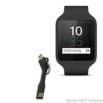 Sony SmartWatch 3 SWR50 Cable, BoxWave [Micro USB Keychain Charger] Key Ring Micro USB Cable for Sony SmartWatch 3 SWR50 - Jet Black