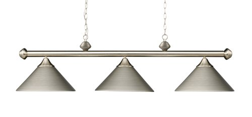 Elk 168-Sn Casual Traditions 3-Light Billiard Light, 15-Inch, Satin Nickel With Metal Shades - Collection 3 Shade Billiard Light