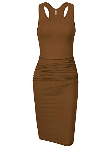 Missufe Women's Sleeveless Racerback Tank Ruched Bodycon Sundress Midi Fitted Casual Dress (Maroon, Small)