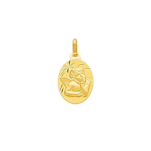 DIAMANTLY Medaille ange or jaune 750 ovale en Relief diamante or