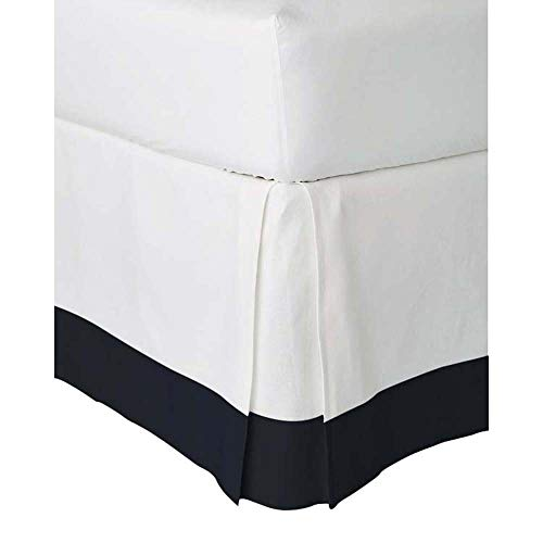 Linentown Two Tone 100% Egyptian Cotton (Navy Blue- Queen) Bed Skirt 15