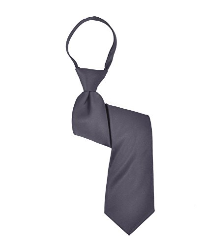 Boy's Poly Solid Satin Zipper Ties -