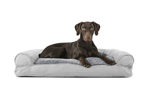 Furhaven Pet Plush & Suede Pillow Sofa Pet Bed, Gray, Large by Furhaven Pet
