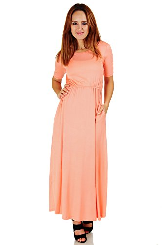 Simply Ravishing Women's Half Sleeve Floor Length Maxi Blouson Dress (Size: S-5X), Medium, (Sleeve Blouson Dress)
