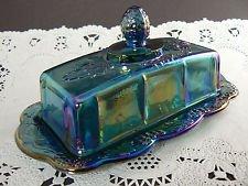 Carnival Glass Dish - Blue Carnival Glass Butter Dish