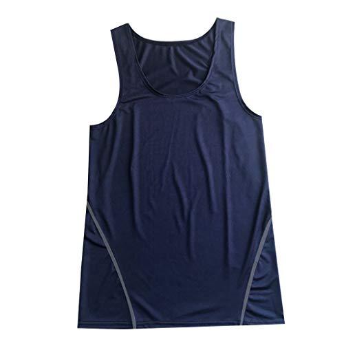 (Mysky Summer Men Popular Leisure Solid Color Sleeveless Slim Sport Work Out Fitness Vest Tee Shirts Tops Navy)