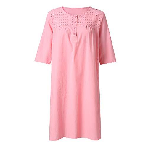 VZEXA Women Skirt Ladies Short Sleeve Solid Loose Shift Paneled Plain Summer Dresses(Pink,US-M/CN-L)