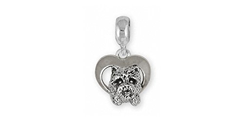 (Westie Charm Slide Jewelry Sterling Silver Handmade West Highland White Terrier Charm Slide WS3-PNS)