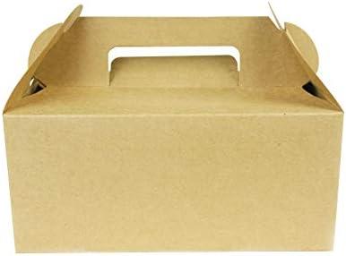 Mannily - Caja de regalo de papel kraft con asas, 20 unidades, para embalar candies, galletas, y otros regalos, 20 x 5 x 6 pulgadas en picnic, fiesta, cumpleaños: Amazon.es: Hogar