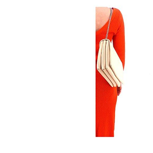 Rouven / Liv 3-Fold Volume 30 Bag / Ivory Elfenbein Helles Beige Creme / Leder Tasche mit Kettenhenkel Schultertasche / edel modern chic minimalistisch / 30x20x10cm