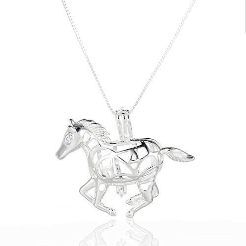 New 925 Sterling Silver Horse Shape Pearl Beads Cage Pendant Necklace Jewelry 1X