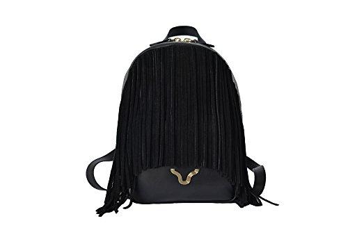 Zainetto da donna nero in vera pelle con frange in camoscio, BORGENNI