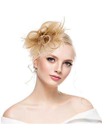 Gold Women's Fascinators Hat Flower Mesh Cocktail Wedding Church Kentucky Deryby Hat for Tea Party ()