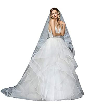 Passat 2Tiers Cathedral Horsehair Wedding Veils With Double Horsehair Trim Bridal Veil Soft Tulle Veils ALDRIDGE