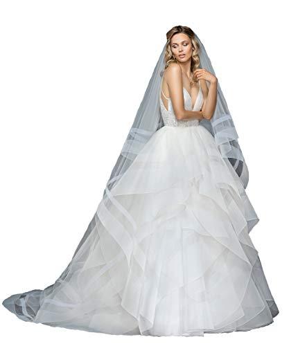 Passat 2 Tiers Chapel Veils Ivory wedding veils With Double Horsehair Trim Organza Soft Tulle ALDRIDGE